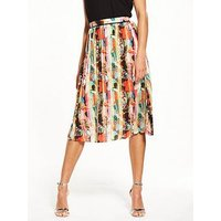 Lost Ink Hammered Satin Pleated Skirt, Multi, Size 16, Women