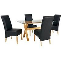 Venla 150 Cm Solid Wood And Glass Dining Table + 4 Eternity Chairs (Arrives In One Delivery) L4YCY