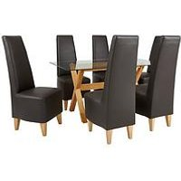 Very Venla 150 Cm Solid Wood And Glass Dining Table + 6 Manhattan Chairs L4YD9