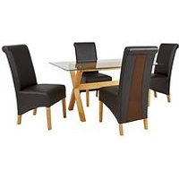 Very Venla 150 Cm Solid Wood And Glass Dining Table + 4 Sienna Chairs L4YDA