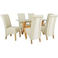 Very Venla 150 Cm Solid Wood And Glass Dining Table + 6 Sienna Chairs L4YDC