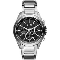 Armani Exchange Black Chronograph Silver Tone Stainless Steel Mens Watch, One Colour, Men