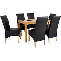 Very Evelyn 120Cm Solid Wood And Glass Dining Table + 6 Eternity Chairs L6EMF