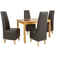 Evelyn 120 Cm Solid Wood And Glass Dining Table + 4 Manhattan Chairs (Arrives In One Delivery) L6EMG