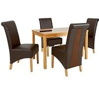 Evelyn 120 Cm Solid Wood And Glass Dining Table + 4 Sienna Chairs