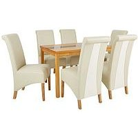 Very Evelyn 120 Cm Solid Wood And Glass Dining Table + 6 Sienna Chairs L6EML