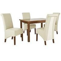 Evelyn 120-150 Cm Solid Wood Extending Dining Table + 4 Sienna Chairs