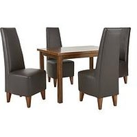 Evelyn 120-150 Cm Solid Wood Extending Dining Table + 4 Manhattan Chairs