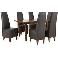 Evelyn 120-150 Cm Solid Wood Extending Dining Table + 6 Manhattan Chairs