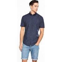 V by Very Short Sleeve Shirt, Navy, Size Xs, Men