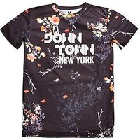 Boys, V by Very Downtown New York Textured T-shirt, Black Multi, Size 11-12 Years