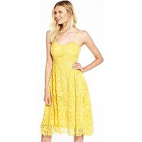 V by Very Mesh Lace Dress, Yellow, Size 12, Women