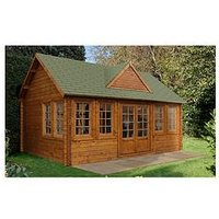 Product photograph showing Forest 5 5 X 4m Cheviot Log Cabin - Cheviot Log Cabin 5 5 X 4 0m With Installation