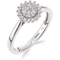 Love DIAMOND 9ct white gold 25 point diamond cluster ring, One Colour, Size O, Women