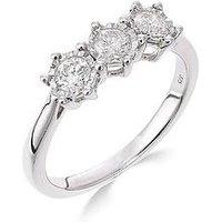 Love DIAMOND 9ct white gold 50 point diamond trilogy ring, One Colour, Size U, Women