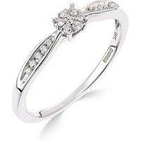Love DIAMOND 9ct white gold 10 point diamond cluster ring, One Colour, Size T, Women