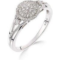 Love DIAMOND 9ct white gold 18 point diamond cluster ring, One Colour, Size N, Women