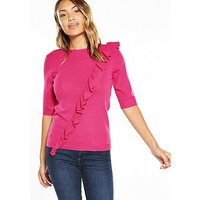 V by Very Ruffle Half Sleeve Jumper, Rose Pink, Size 12, Women