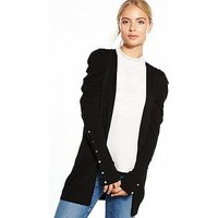 V by Very Puff Shoulder Button Sleeve Cardigan, Black, Size 24, Women