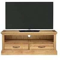 Product photograph showing Luxe Collection Kingston 100 Solid Wood Ready Assembled Wide Tv Unit - Fits Up To 50 Inch Tv