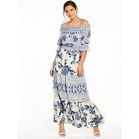 V by Very Shirred Top Bardot Maxi Dress, Print, Size 8, Women