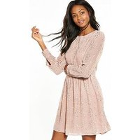 V by Very Long Sleeve Embroidered Lace Dress, Blush, Size 16, Women