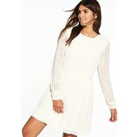 V by Very Long Sleeve Embroidered Lace Dress, Cream, Size 10, Women