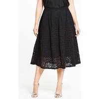 V By Very Curve Lace Full Midi Skirt - Black