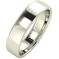 Love GOLD 9ct Gold Premier Collection 5mm Heavy Weight Wedding Band, White Gold, Size O, Women