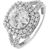 Moissanite Moissanite 9ct Gold 8mm Centre 2.50ct total double halo ring, White Gold, Size X, Women