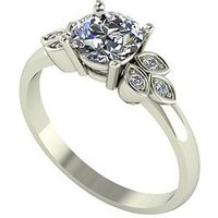 Moissanite 9ct Gold 1.07ct Eq Leaf Cluster Solitaire Ring, Yellow Gold, Size L, Women
