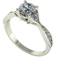 Moissanite 9ct Gold 1ct eq Twisted Shank Solitaire Ring, Yellow Gold, Size P, Women