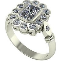 Moissanite 9ct Gold 7x5 Radiant Centre Antique Cluster Ring, Yellow Gold, Size S, Women