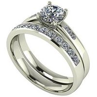 Moissanite Moissanite 9ct Gold 1ct total Round Brilliant Centre bridal Set, Yellow Gold, Size Y, Women