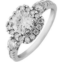 Moissanite Moissanite 9ct Gold 6mm Centre 1.33ct total vintage style Ring, Yellow Gold, Size Y, Women