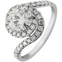 Moissanite Moissanite 9ct Gold 7mm Centre 1.80ct total twisted halo ring, White Gold, Size J, Women