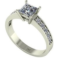 Moissanite Lady Lynsey 9ct Gold 1.05ct total Princess Cut Centre Moissanite Solitaire Ring, Yellow Gold, Size Y, Women