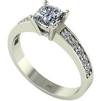Moissanite Lady Lynsey 9ct Gold 1.05ct total Cushion Cut Centre Moissanite Solitaire Ring, White Gold, Size Y, Women