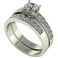 Moissanite Lady Lynsey 9ct Gold 1.20ct total Round Brilliant Centre Moissanite bridal set, Yellow Gold, Size V, Women