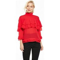 Y.A.S Tall Ruffle Top, Red, Size 6=Xs, Women