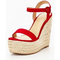 Myleene Klass Marni Real Suede Wedge - Red, Red, Size 6, Women