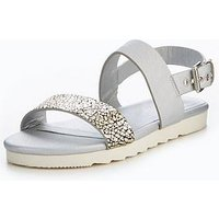 V by Very Sasha Wide Fit Sporty Flat Sandal, Silver, Size 4, Women