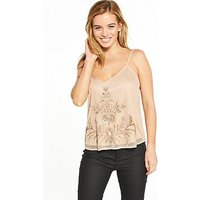 V by Very Petite Embellished Mesh Cami, Nude, Size 16, Women