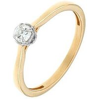 The Astral Diamond Astral Diamond 9 Carat Yellow Gold 15 Point Solitaire Diamond Engagement Ring, One Colour, Size L, Women