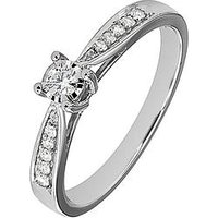 Love DIAMOND 9ct White Gold 19 Point Diamond Engagement Ring, One Colour, Size M, Women