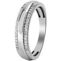 Love DIAMOND 9ct White Gold 21 Point Diamond Mens Wedding Band, One Colour, Size R, Men