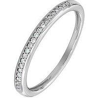 Love DIAMOND 9ct White Gold 8 Point Diamond Wedding Band, One Colour, Size L, Women