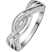Love DIAMOND Sterling Silver Rhodium Plated 13 Point Diamond Twist Ring, One Colour, Size R, Women