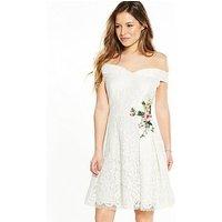 Little Mistress Petite Lace Mini Bardot Dress with Floral Embroidery, Cream, Size 8, Women