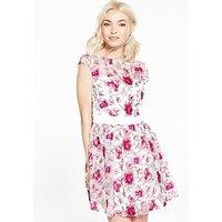 Little Mistress PETITE Premium Embroidered Skater Dress, Multi, Size 14, Women